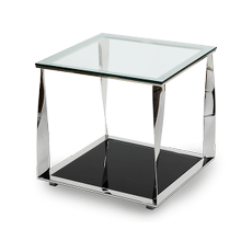 Accent Square Glass Table,Stainless Steel & Black