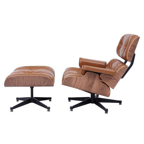 Grayson PU Lounge Arm Chair and Ottoman Walnut Veneer Frame, Distressed Caramel