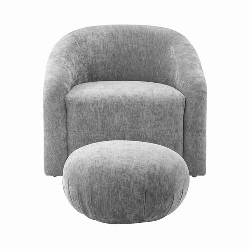 Tov Furniture - Boboli Grey Chenille Chair + Ottoman Set