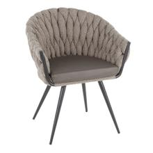 Braided Matisse Chair - Black Frame, Grey Fabric, Grey Pu