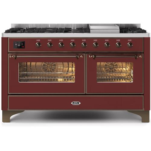 Gallery - Majestic II 60 Inch Dual Fuel Natural Gas Freestanding Range in Burgundy with Bronze Trim
