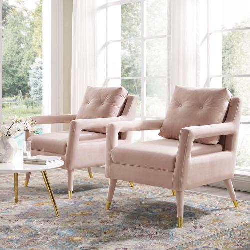 Premise Armchair Performance Velvet Set of 2 in Pink