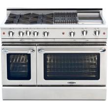 "48"" Gas Self Clean, Rotisserie, 4 Open Burners, 2 12"" Broil Burners"