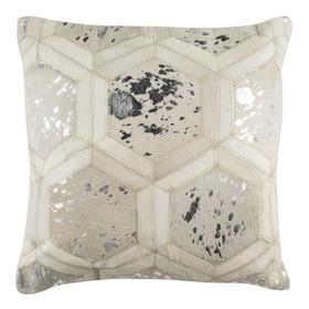 Maggie Metallic Cowhide Pillow - White / Silver