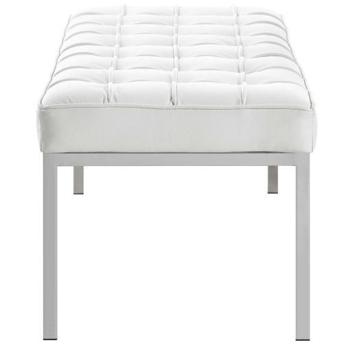 Loft Leather Bench in Cream White