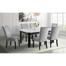 Cambridge Solano Dining 7-Piece Set with Marble Tabletop and 6 Velvet Fabric Side Chairs, 982004-7PC-GRY