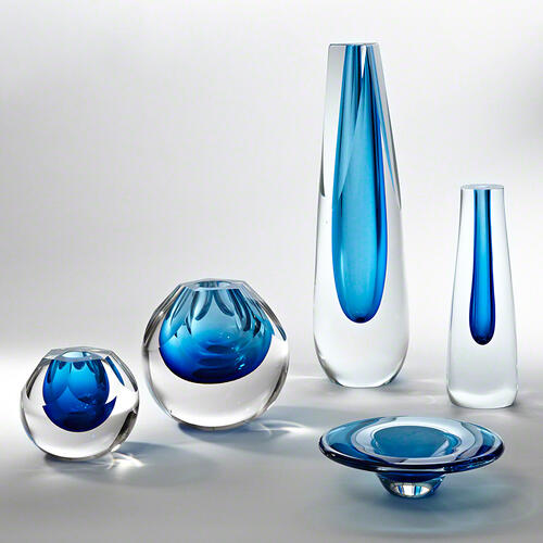 Hexagon Cut Glass Vase-Cobalt