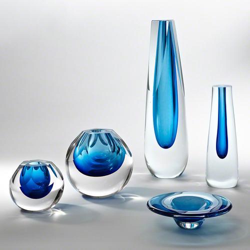 Triangle Cut Glass Vase-Cobalt