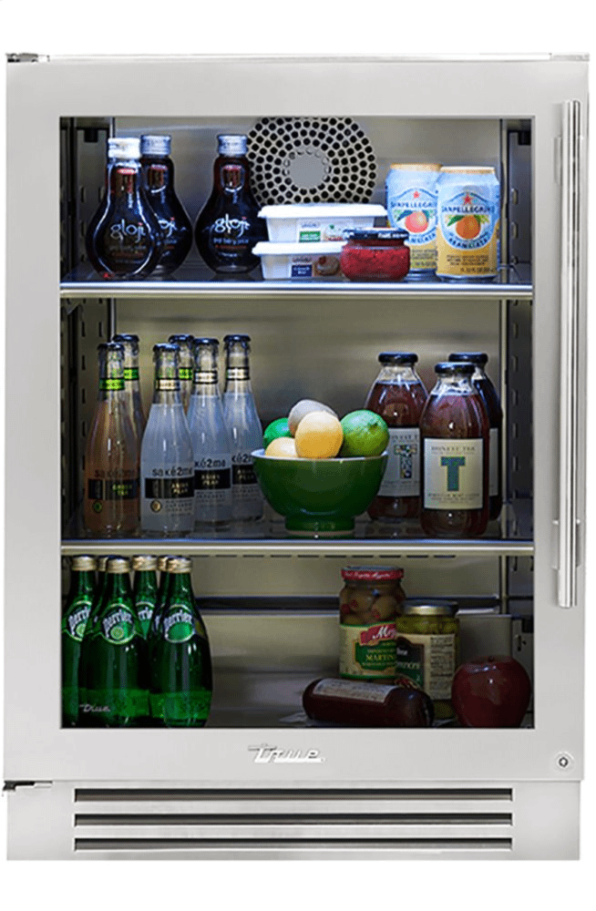 True Residential24 Inch Stainless Glass Door Left Hinge Undercounter Refrigerator