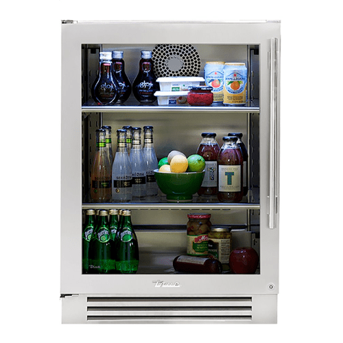 True Residential - 24 Inch Stainless Glass Door Left Hinge Undercounter Refrigerator