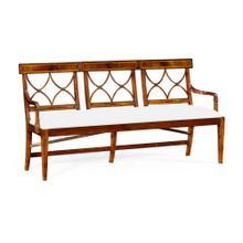Three Seater Regency Walnut Bench, Upholstered in COM