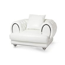 Ellia Leather Chair 1/2 in Cream St.Steel