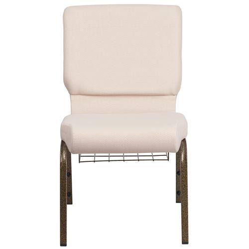 HERCULES Series 18.5''W Church Chair in Beige Fabric with Cup Book Rack - Gold Vein Frame