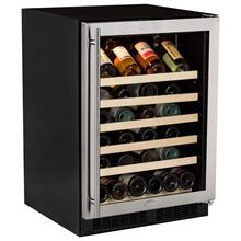 """See Details - 24"""" Single Zone Wine Cellar - Stainless Steel Frame Glass Door - Right Hinge"""