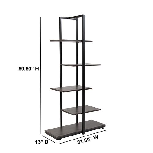 Flash Furniture - Homewood Collection 5 Tier Decorative Etagere Storage Display Unit Bookcase with Black Metal Frame in Driftwood Finish