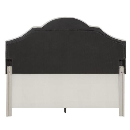 Upholstered Camelback King Bed in Warm Gray