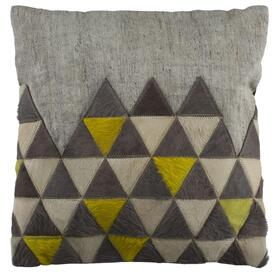 Perris Cowhide Pillow - Grey / Yellow / White