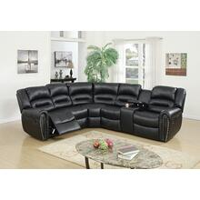 Esteve 3pc Reclining/Motion Home Theater Sofa Set, Black Bonded Leather