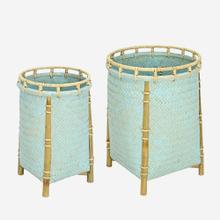 Lucca Round Baskets-Set/2, Blue Wash