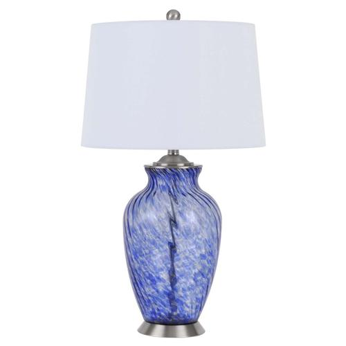150W 3 way Ashland glass table lamp with hardback taper drum fabric shade