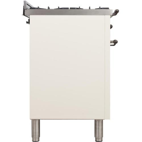 Nostalgie 40 Inch Dual Fuel Natural Gas Freestanding Range in Antique White with Bronze Trim