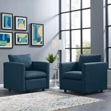 Activate Upholstered Fabric Armchair Set of 2 in Azure