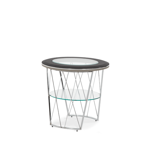 Black and Gray Caviar Round End Table