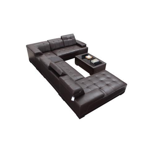 Divani Casa Dunkirk Modern Brown Leather Sectional Sofa