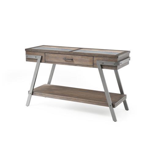 Sofa Table-wood W/tile Insert Top-metal Legs