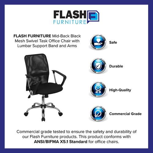 Gallery - Mid-Back Black Mesh Swivel Task Office Chair with Lumbar Support Band and Arms