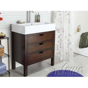 Acme Furniture Inc - Cherry Finish Sink w/White Top Set