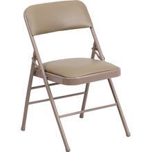 HERCULES Series Triple Braced Beige Vinyl Upholstered Metal Folding Chair