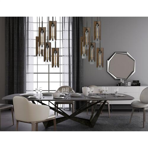 60W X 3 Almeria Wood/Glass 4 Light Pendant Fixture (Edison Bulbs Not included)