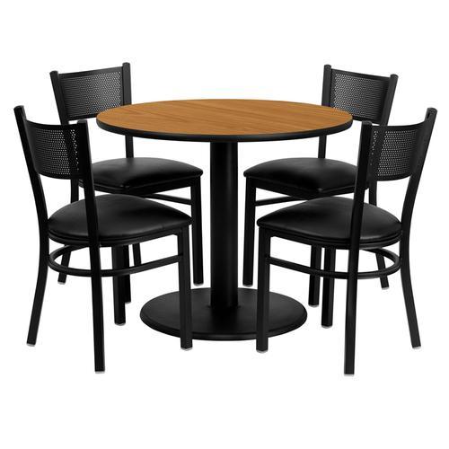 Flash Furniture - 36'' Round Natural Laminate Table Set with 4 Grid Back Metal Chairs - Black Vinyl Seat