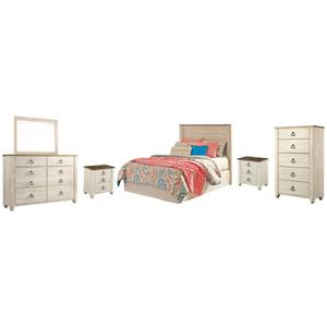 Gallery - Full Panel Headboard With Mirrored Dresser, Chest and 2 Nightstands