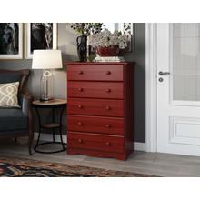 See Details - 53102 - 100% Solid Wood Five Drawer Chest - Mahogany