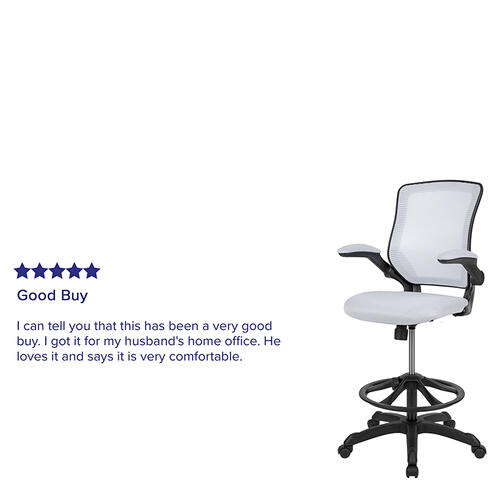 Gallery - Mid-Back White Mesh Ergonomic Drafting Chair with Adjustable Foot Ring and Flip-Up Arms