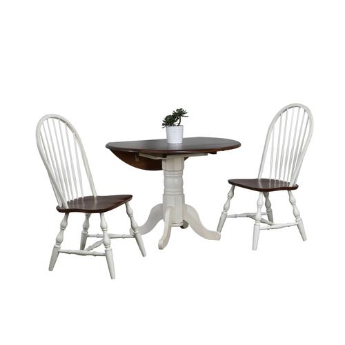 Round Drop Leaf Dining Set w/Spindleback Chairs - Antique White with Chestnut Top (3 Piece)