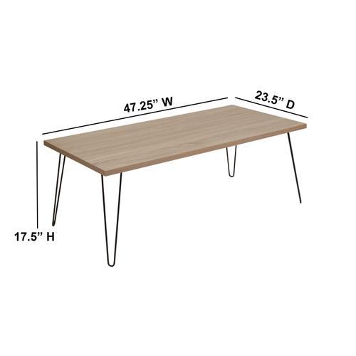 Flash Furniture - Union Square Collection Sonoma Oak Wood Grain Finish Coffee Table with Black Metal Legs