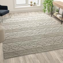 See Details - 8' x 10' Ivory Geometric Design Handwoven Area Rug - Wool\/Polyester\/Cotton Blend