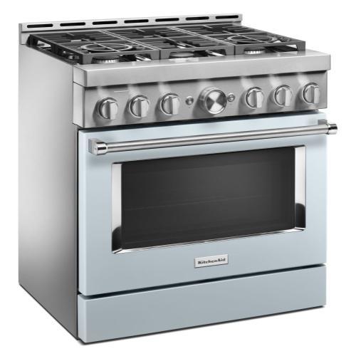 KitchenAid - KitchenAid® 36'' Smart Commercial-Style Gas Range with 6 Burners - Misty Blue