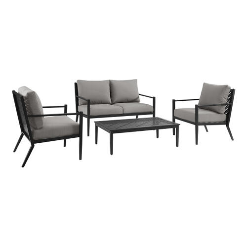 Accentrics Home - Metal Base Loveseat and Coffee Table set in Black (Component 1 of 2)