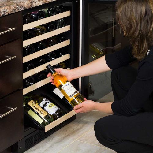 24-In Built-In High Efficiency Single Zone Wine Refrigerator with Door Style - Stainless Steel Frame Glass, Door Swing - Right