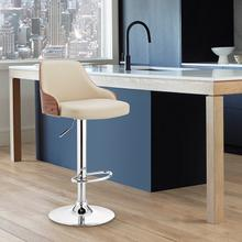 View Product - Asher Adjustable Cream Faux Leather and Chrome Finish Bar Stool