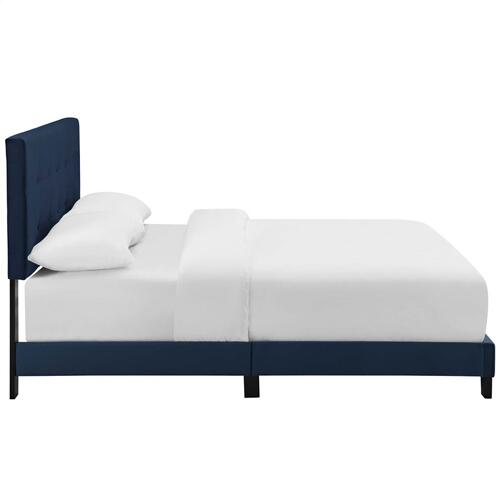 Amira King Performance Velvet Bed in Midnight Blue