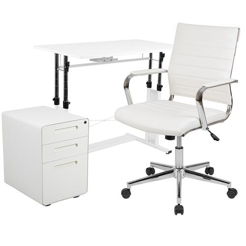 Gallery - Work From Home Kit - White Adjustable Computer Desk, LeatherSoft Office Chair and Inset Handle Locking Mobile Filing Cabinet