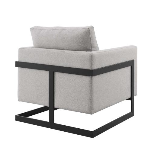 Modway - Posse Upholstered Fabric Accent Chair in Black Camel