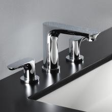 Deck-mount three-hole faucet with two lever handles.