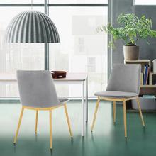 View Product - Messina Modern Gray Velvet and Gold Metal Leg Dining Room Chairs - Set of 2