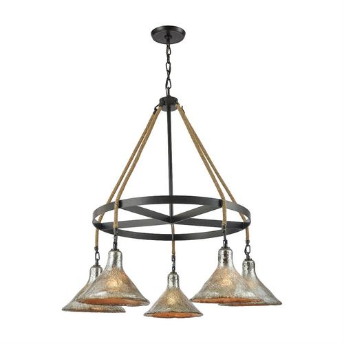 Hand Formed Glass 5-Light Chandelier in Oiled Bronze with Mercury Glass